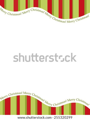 Retro striped frame with red and green  stripes with merry christmas letters. christmas candy cane border, header or footer - stock vector