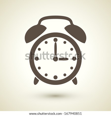 retro style alarm clock icon isolated on brown background - stock vector