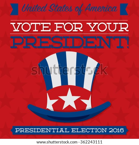 Retro style American election typographic card in vector format. - stock vector