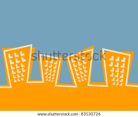 Retro Style Animated Cityscape - Vector Illustration - stock vector
