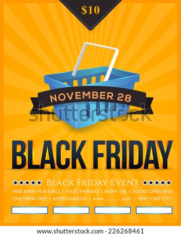 Retro Style Black Friday Sale Poster, Flyer, Advertising Template  - stock vector