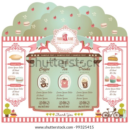 Retro style cafe elements 2 - stock vector