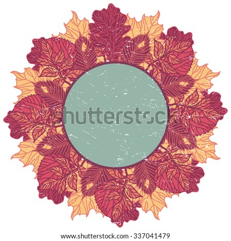 retro style card made of hand-drawn leaves. EPS 10. - stock vector
