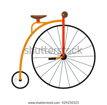 Retro style circus bicycle with big front wheel vector illustration. Circus bike wheel cycle retro design and circus bike pedal transport isolated. Circus bike art concept travel antique symbol. - stock vector