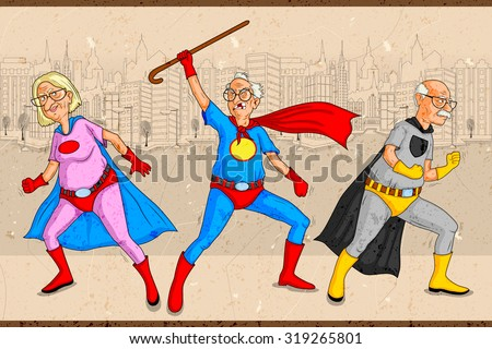 Retro style comics Superhero old man and woman showing is power strength in vector - stock vector