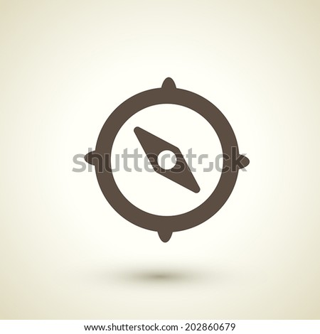 retro style compass icon isolated on brown background - stock vector