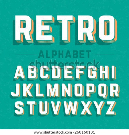 Retro style 3d alphabet. Vector. - stock vector