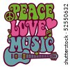 Retro-style design of Peace, Love and Music with peace symbol, heart, musical notes and guitar. - stock vector
