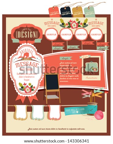 Retro style elements design - stock vector