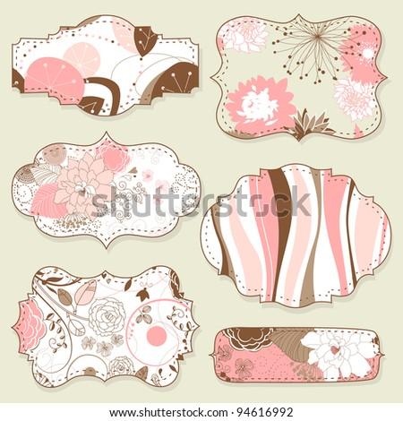 Retro style floral frames - stock vector