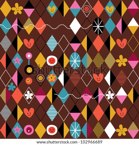Retro style fun cartoon pattern