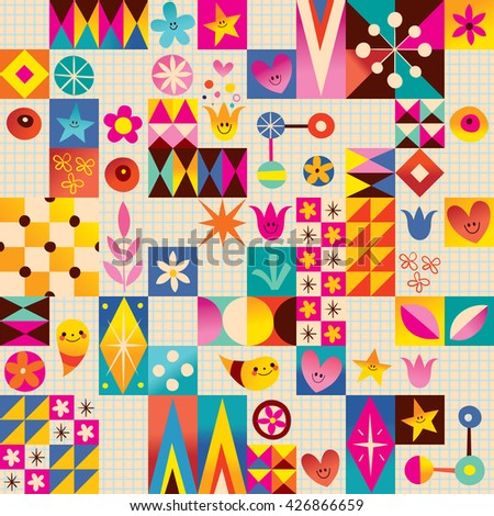 Retro style fun pattern with notebook paper background - stock vector