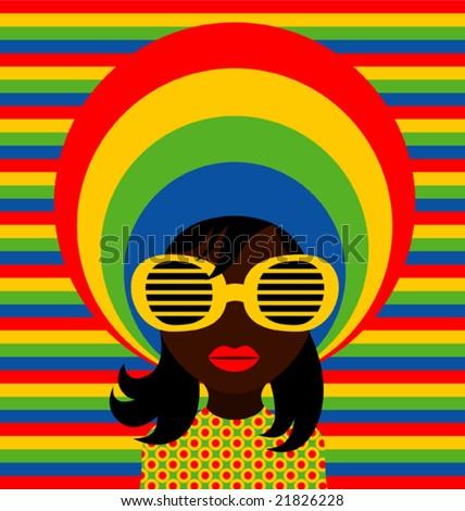 Retro style girl with sunglasses. - stock vector