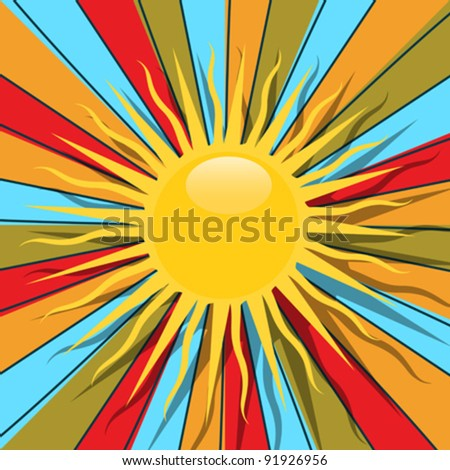 Retro style graphic with sun and rays in colors, abstract art. - stock vector