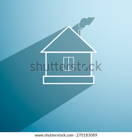 Retro style home icon isolated on blue background with long shadow. Vector - stock vector