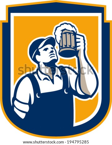 Retro style illustration of a bartender worker toasting mug of beer ale looking up set inside circle on isolated white background.