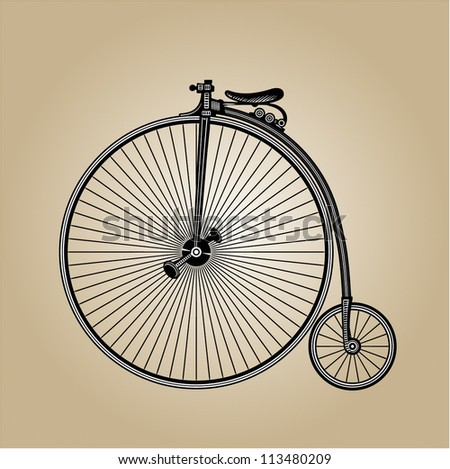 retro-style illustration of old vintage bicycle, fully hand drawn - stock vector