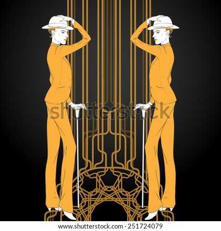 Retro style illustration  of two young beautiful women of 1920s in menswear. Can be used for cards, invitations, wallpapers or  template for design and decoration. - stock vector