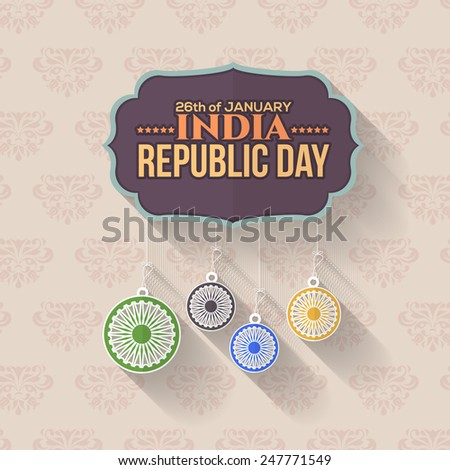 Retro Style India Repubic Day 26 January Celebration Card, Background, Badges Vector Template Hanging India Flag Elements - stock vector