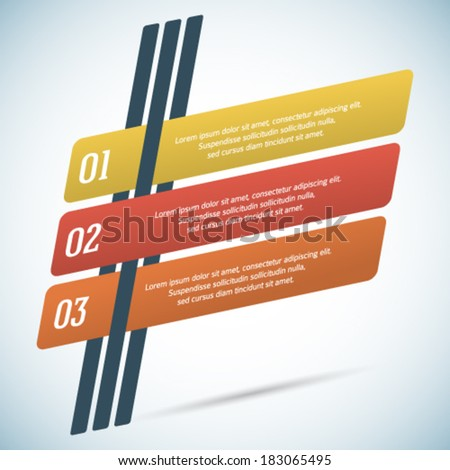Retro style infographics design elements slanted lines with shadows.