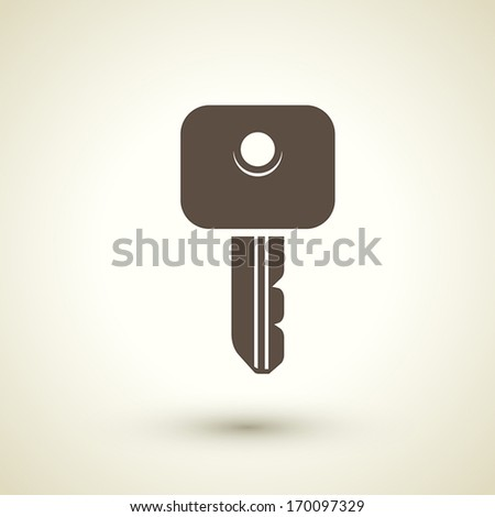 retro style key icon isolated on brown background - stock vector
