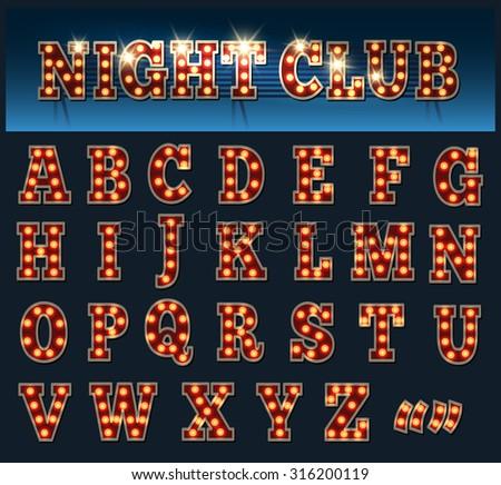 Retro style light bulb alphabet. Capital Letters isolated on dark. - stock vector