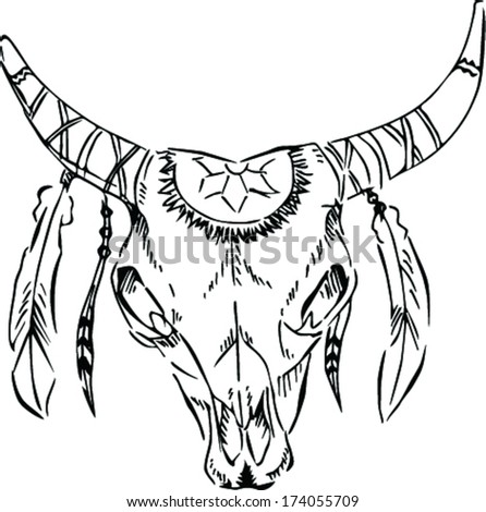 Longhorn skull stock photos royalty free images vectors for Longhorn coloring page