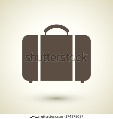 retro style luggage icon isolated on brown background  - stock vector