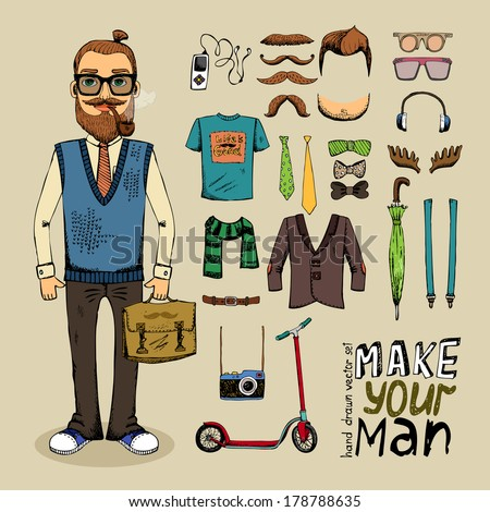 Vintage hipster clothing men retro style man with hipster