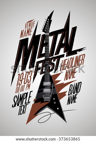 Retro style metal fest poster design with v style electro guitar and place for text - stock vector