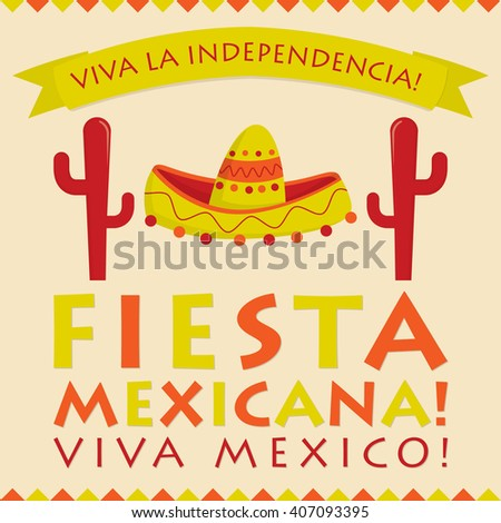 Retro style Mexican Fiesta card in vector format. - stock vector