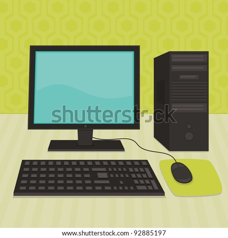 retro style monitor, pc base unit, keyboard and mouse - stock vector