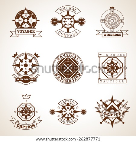 Retro style nautical skipper compass label set with isolated vector illustration - stock vector