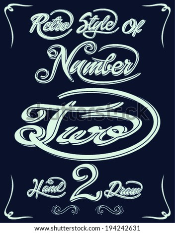 retro style of number