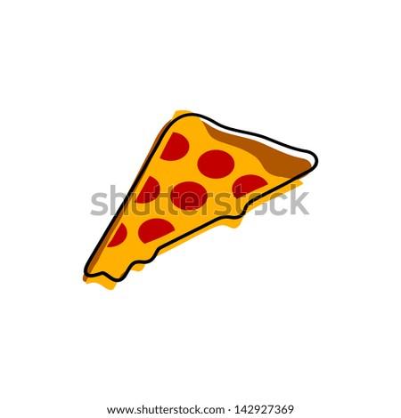Retro Style Pizza Slice Illustration - stock vector