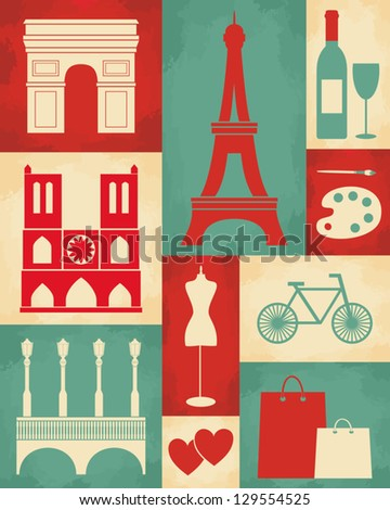 Retro style poster with Paris symbols and landmarks. - stock vector
