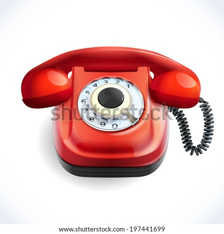 Retro style red color telephone with wire connection isolated on white background vector illustration - stock vector