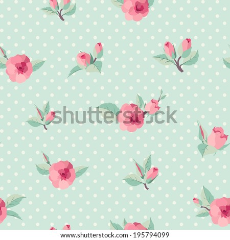 Retro style seamless background with roses - stock vector