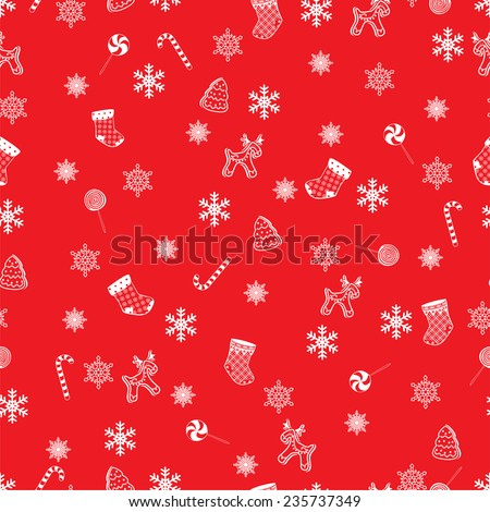Retro Style Seamless Christmas Pattern.  Vector illustration - stock vector