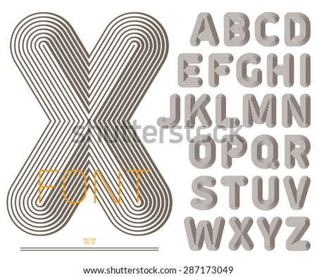 Retro style striped font, vintage alphabet, best for use for posters, cards, labels, headlines and graphic design. Vector illustration. - stock vector