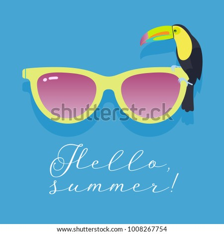 Genial Retro Style Sunglasses With Toucan Bird For Hello Summer Concept Vector  Illustration. Banner Or Poster