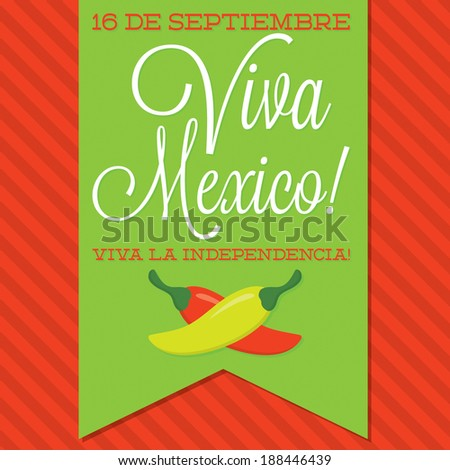 Retro style Viva Mexico (Mexican Independence Day) card in vector format. - stock vector