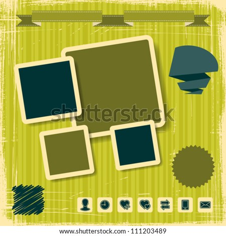 Retro Style Website Template. Vector design frame. - stock vector