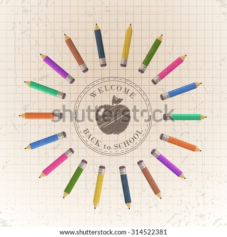 Retro Style Welcome Back to School Concept Background, Vector Colorful Pencils Illustration - stock vector