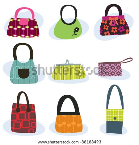 retro style women's handbags isolated on white - stock vector