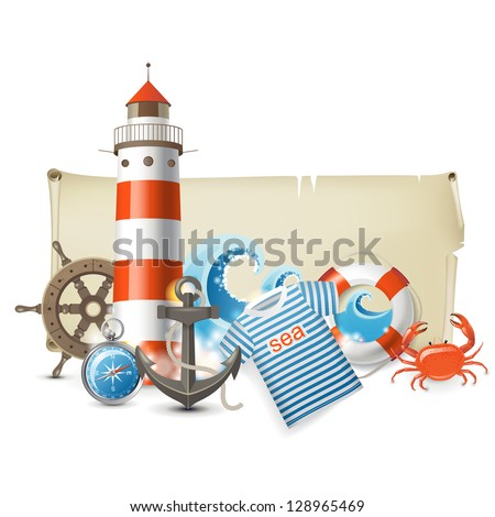 Retro-styled banner with sea icons. EPS 10 - stock vector