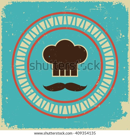 Retro styled chef's hat with mustache - stock vector