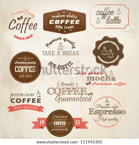 Retro styled coffee labels. Vector - stock vector