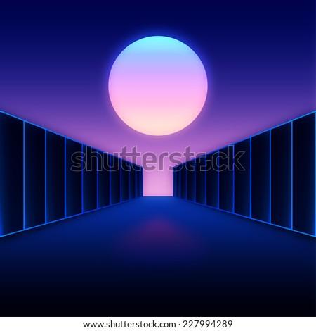 Retro styled digital futuristic landscape with moon and dark corridor gate - stock vector