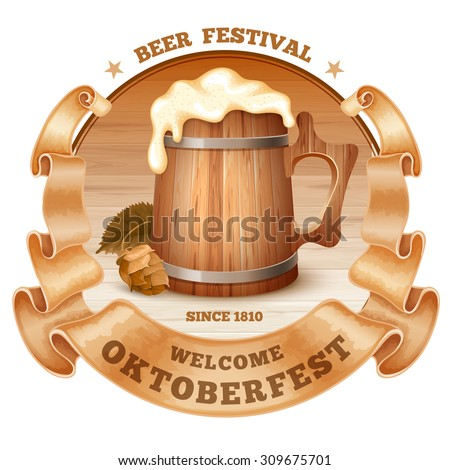 Retro styled emblem with old beer mug with foam, wooden barrel, twisted vintage ribbon and the text Beer festival Oktoberfest. Isolated on white background. Vector illustration. - stock vector